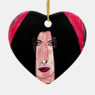 Mysterious Brunette Ceramic Ornament