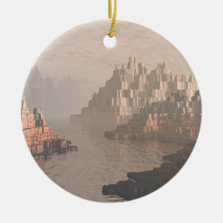 Mysterious Canyon River Round Ceramic Ornament