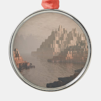 Mysterious Canyon River Silver-Colored Round Ornament