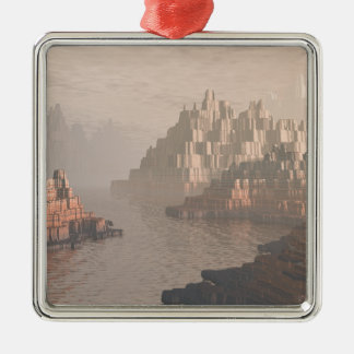 Mysterious Canyon River Silver-Colored Square Ornament