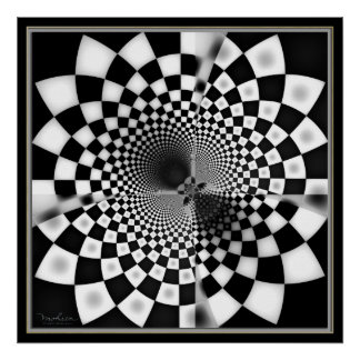 Mysterious Checkered Hole Poster