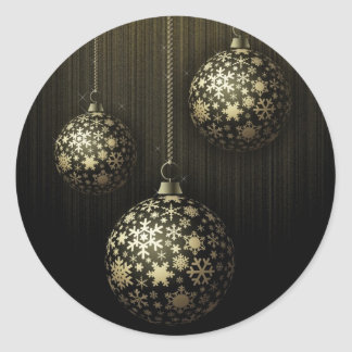 Mysterious Christmas - Golden Snowflake Ornaments Classic Round Sticker