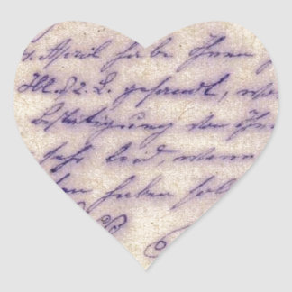 Mysterious handwriting - postal card mailed 1897 heart stickers