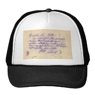 Mysterious handwriting - postal card mailed 1897 trucker hat