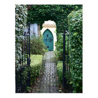 Mysterious open gateway postcard