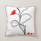 mysterious RED birds on abstraction black flower Throw Pillow