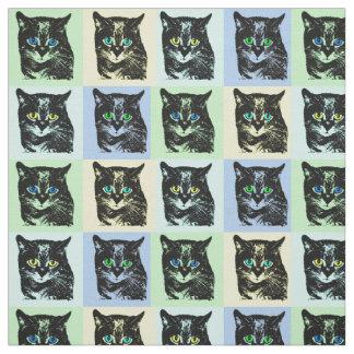Mysterious Transparent Black Cat Fabric