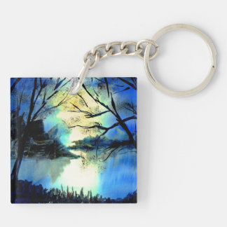 Mysterious Watercolour Sunset Lake Key Ring Double-Sided Square Acrylic Keychain