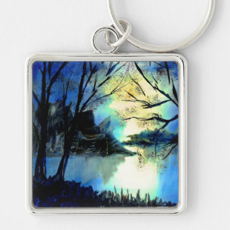 Mysterious Watercolour Sunset Lake Key Ring Silver-Colored Square Keychain