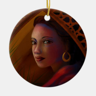 Mysterious Woman Ceramic Ornament