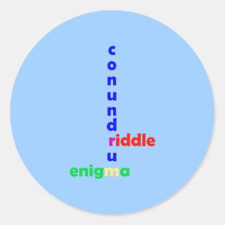 Mysterium mystery riddle enigma conundrum classic round sticker