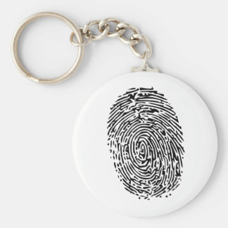 Mystery Black Fingerprint Basic Round Button Keychain