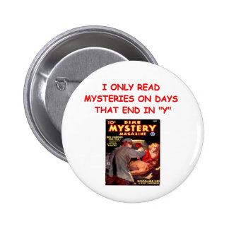 mystery book pinback button