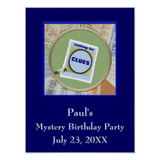 Mystery Magnifying Glass Clues Birthday Party Poster