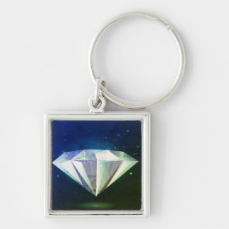 Mystery necklace : with Diamond Silver-Colored Square Keychain