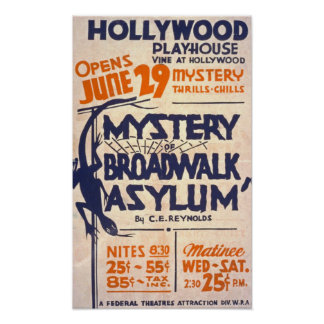 Mystery of Broadwalk Asylum Vintage Poster