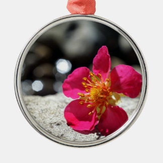 Mystery Pink Flower Metal Ornament