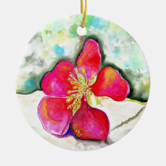 Mystery Pink Flower Watercolor Ceramic Ornament