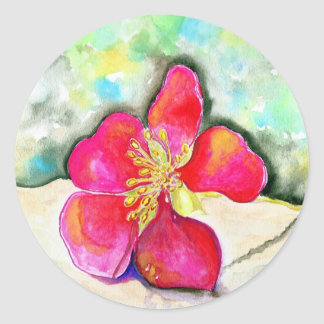 Mystery Pink Flower Watercolor Classic Round Sticker