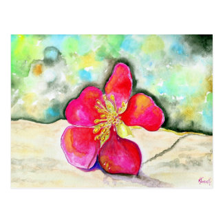 Mystery Pink Flower Watercolor Postcard