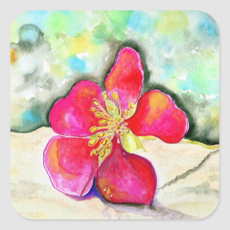 Mystery Pink Flower Watercolor Square Sticker