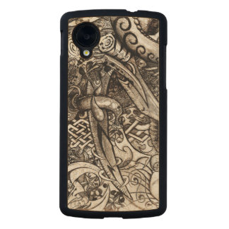 Mystic Blades Intricate Detailed Hand Drawing Carved Maple Nexus 5 Case