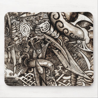 Mystic Blades Intricate Detailed Hand Drawing Mouse Pad