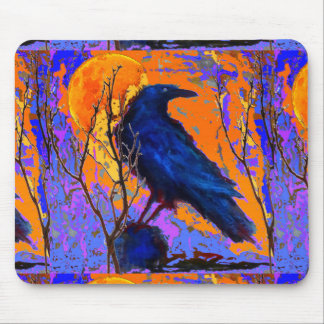 Mystic Blue Raven Moon By Sharles Mouse Pad