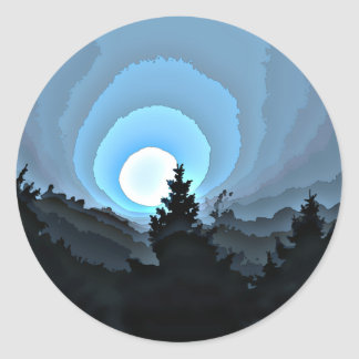 Mystic Blue Sunrise Classic Round Sticker