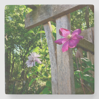 Mystic Clematis Flower Marble Stone Coaster