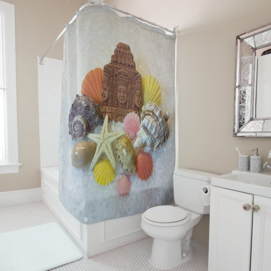 Mystic Energy Seashell and Starfish Shower Curtain