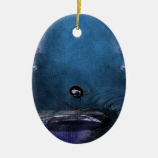 Mystic Eye Water Drop Ceramic Oval Ornament