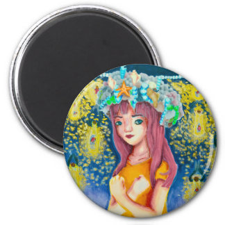 Mystic Firefly Beach Round Magnet