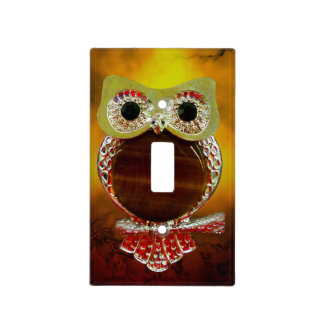 Mystic Glow Gold & Wood Tree Owl Light Switch Cover