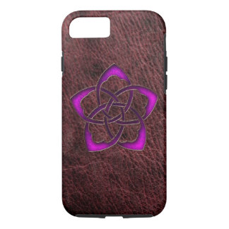 Mystic glow purple celtic flower on leather iPhone 8/7 case
