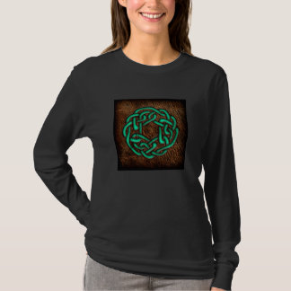 Mystic green celtic knot on leather T-Shirt