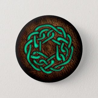 Mystic green celtic ornament on leather 2 inch round button