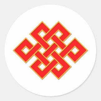 Mystic Knot - Red & Yellow Round Sticker