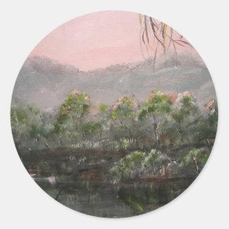 """Mystic Lake"" Round Sticker"