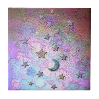 Mystic Metallic Moons and Stars Pastel Tile