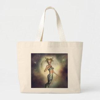 Mystic Moon Mermaid Large Tote Bag