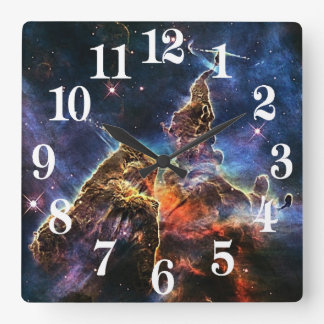 Mystic Mountain in Space NASA Square Wall Clock