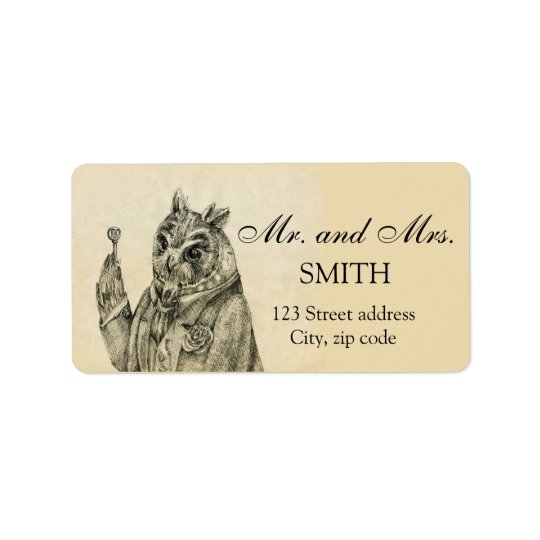 Mystic owl in a suit vintage label