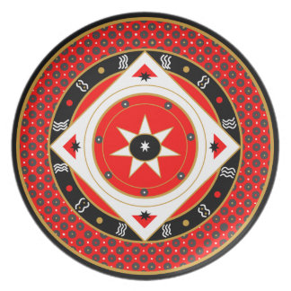 Mystic Rooster Oracle Red Star Plate