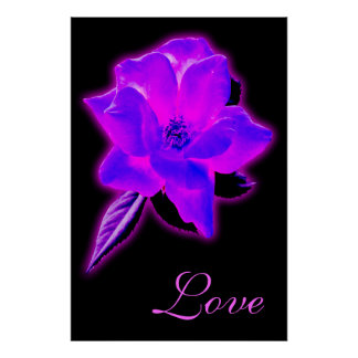 Mystic rose purple neon glow poster