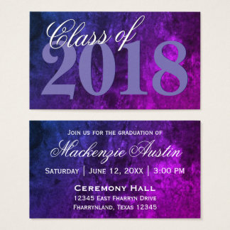 Mystic-Topaz Graduation   Purple Blue Announcement Business Card