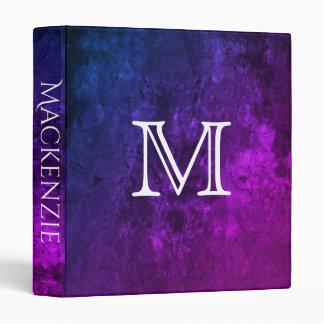 Mystic-Topaz Office | Name Purple Pink Blue Ombre Vinyl Binder