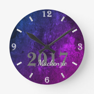 Mystic Topaz Purple Blue Pink Gothic Velvet Stone Wall Clock