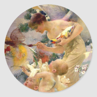 Mystical Birds and Faeries Classic Round Sticker