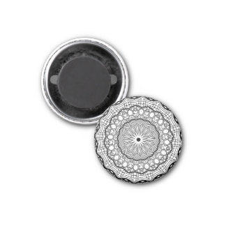 Mystical Black and White Mandala Magnet